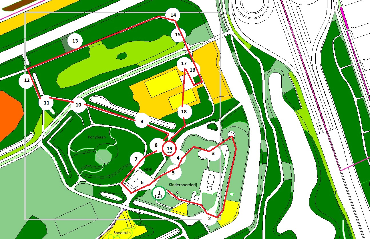 kaart met boomlocaties en nrs +route en legenda (1)
